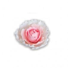 Suhkrukaunistus SUUR POJENG valge roosa südamega  1tk